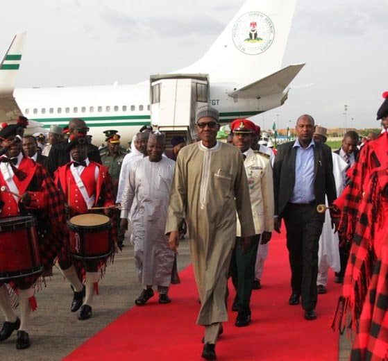 President Muhammadu Buhari at Nnamdi Azikiwe International airport Abuja . PHOTO: PHILIP OJISUA